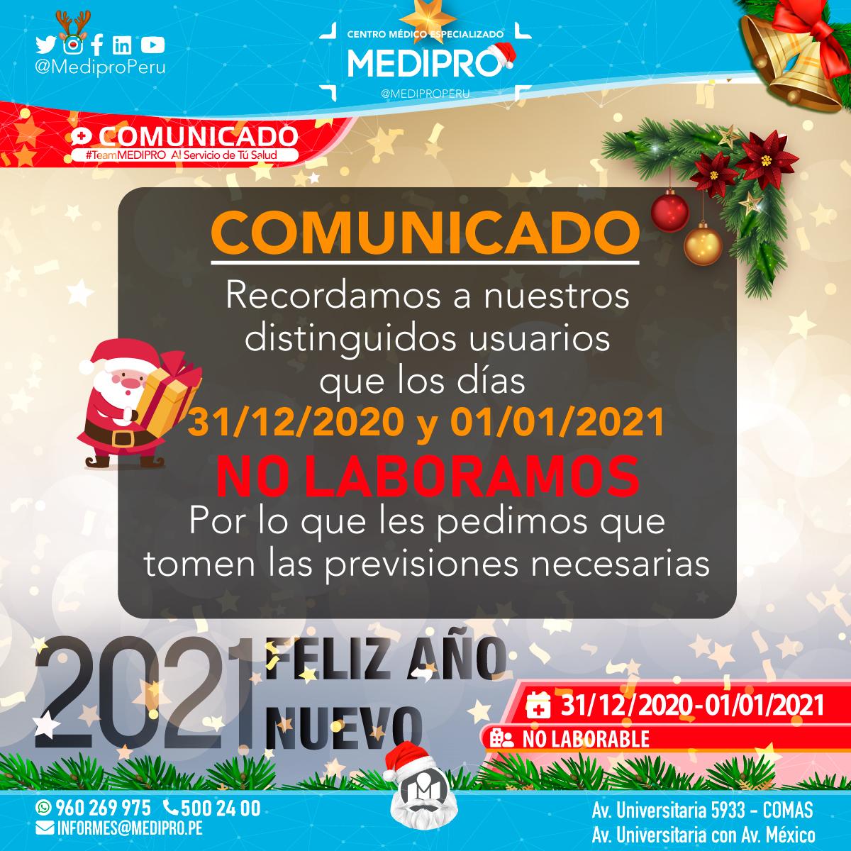 COMUNICADO   31/12/2020  –  01/01/2021